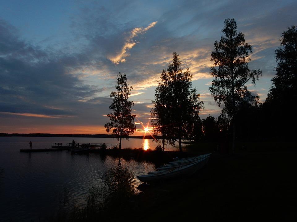 Sunset, Finland, Suomi, Sea, Sky, Clouds, Blue, Trees