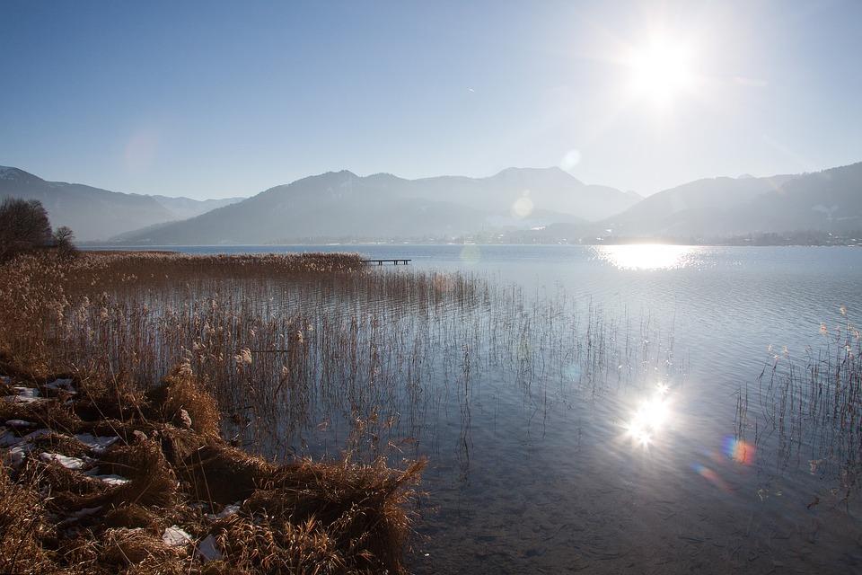Lake, Mountains, Panorama, Bank, Sky, Water, Blue, Rest