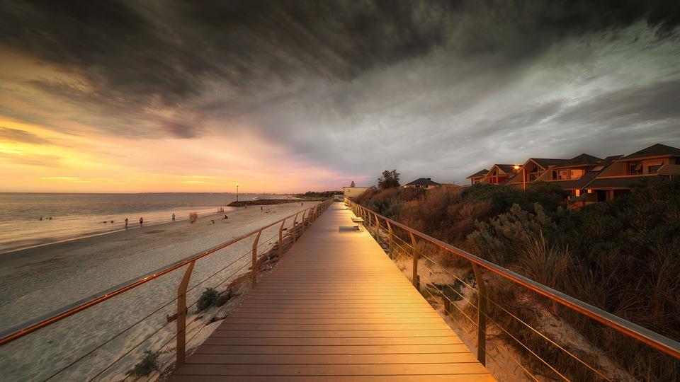 Boardwalk, Beach, Clouds, Sea, Ocean, Vacation, Sky