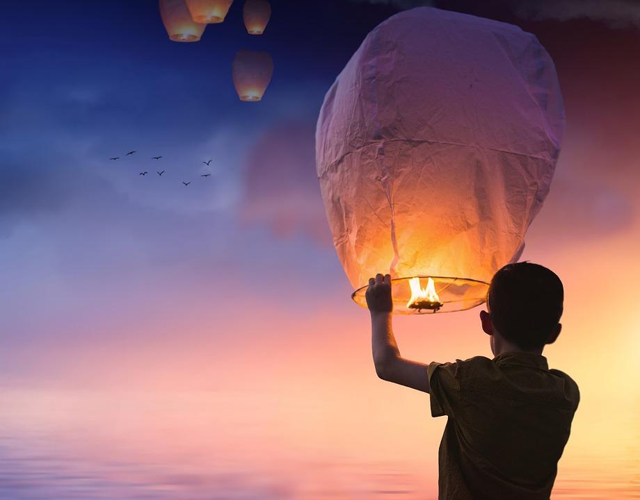 Balloon, Chinese Lanterns, Lantern, Shining, Sky, Boy