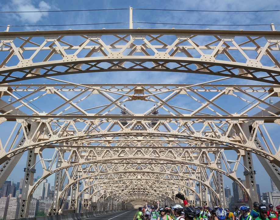 New York City, Urban, Bridge, People, Bicyclists, Sky