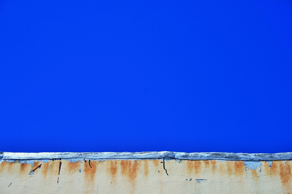 Building, Wall, Stained, Rust, Weathered, Sky, Blue