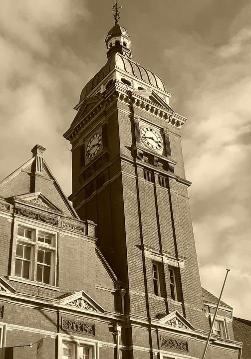 Sky, Clock, Clouds, Building, Swindon, Great Britain