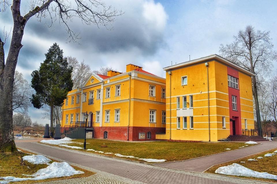 Kalisz, Poland, Building, Sky, Clouds, Trees, Winter