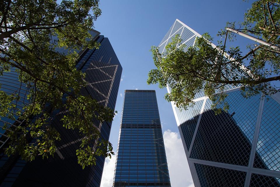 Hongkong, Blue, Sky, Buildings
