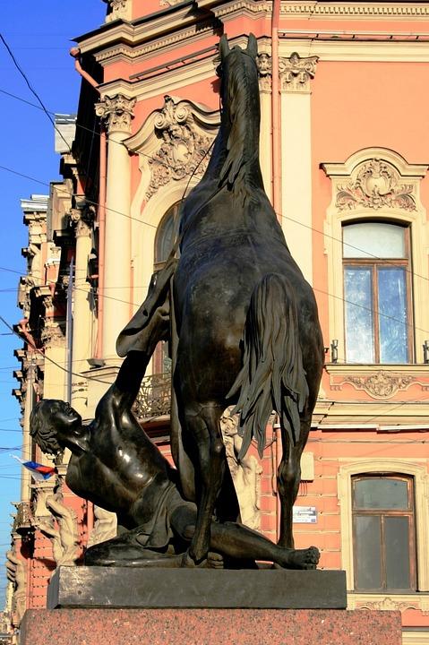 Statue, Equestrian, Man, Breaking Horse, Buildings, Sky