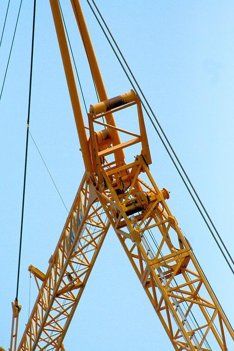 Crane, Sky, Cables, Lattice