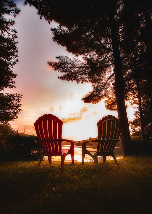 Canada, Sunset, Sky, Clouds, Dusk, Evening, Chairs