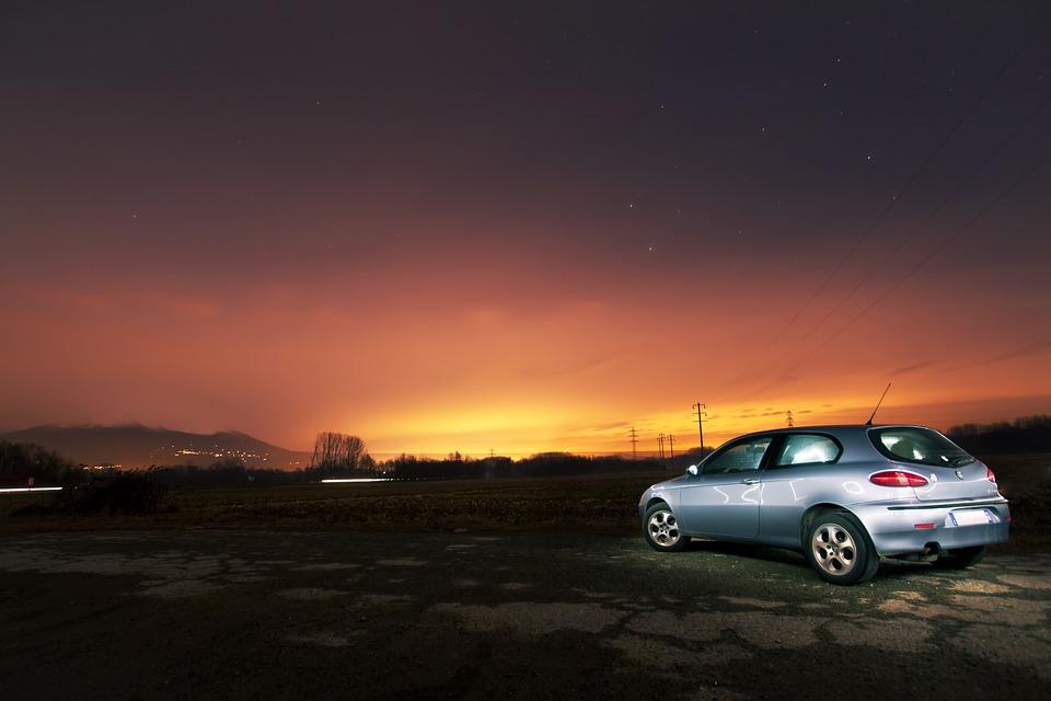 Car, Silver, Vehicle, Trip, Tour, Night, Sky