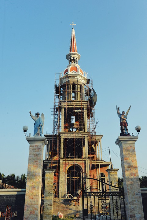 Vietnam, Church, Under Construction, Cathedral, Sky