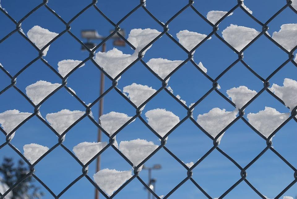 Snow, Fence, Chain, Link, Sky, Macro