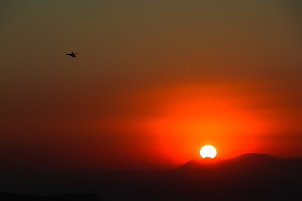 West, Helicopter, Sky, Twilight, Chopper