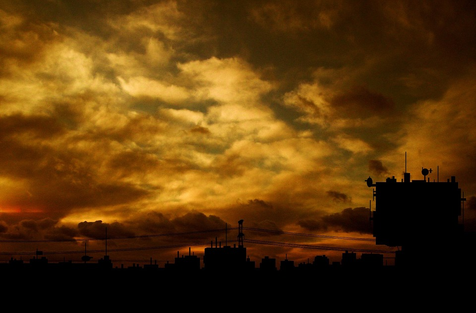 Industry, Sunset, City, Sky