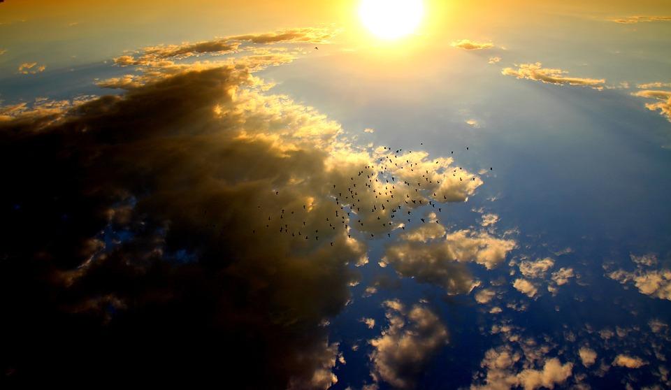 Sunset, Birds, Cloud, Sun, Sky, Red