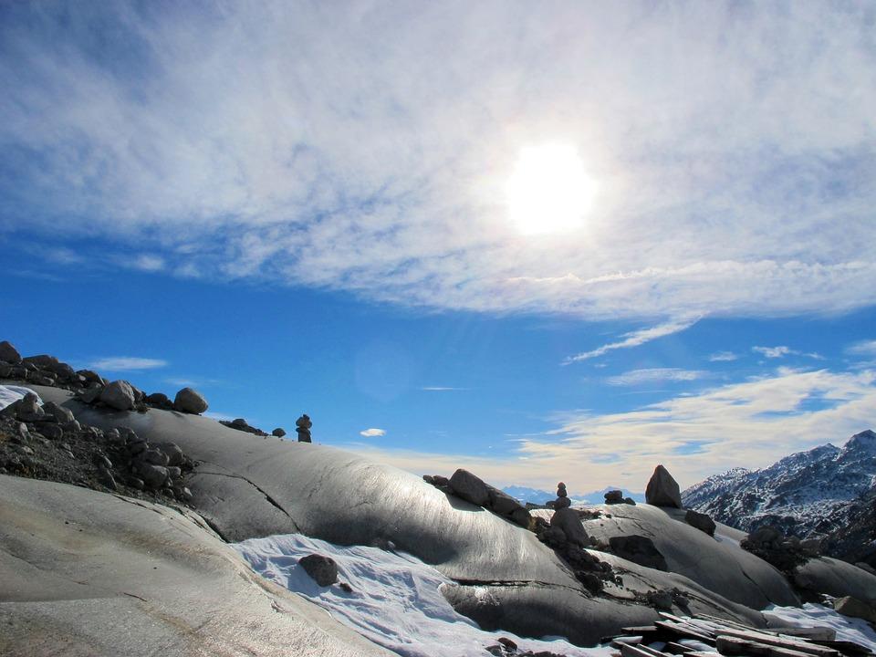 Stones, Sky, Cloudiness, Landscape, Sun, Nature