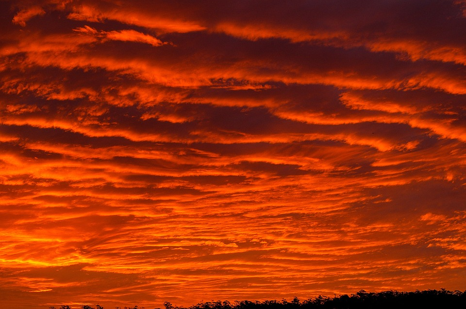 Sunset, Sky, Red, Orange, Grey, Clouds, Firey, Horizon