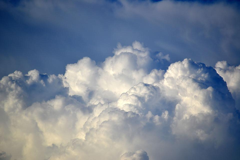 Clouds, Sky, White, Blue, Fluffy