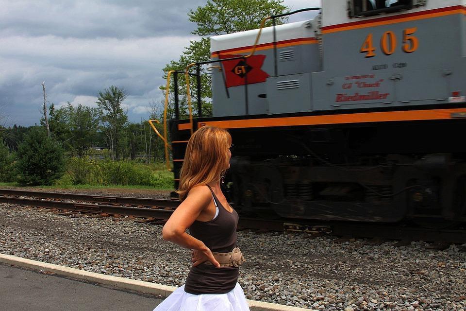 Track, Railroad, Girl, People, Tree, Clouds, Train, Sky