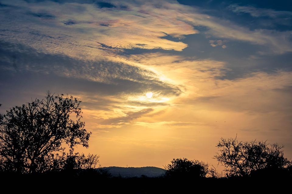 Sunset, Trees, Sky, Clouds, Landscape, Mallorca, Sea