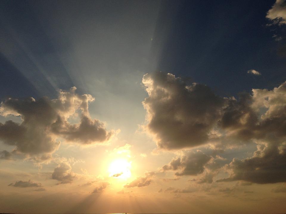 Sky, Sun, Clouds, Sunbeam