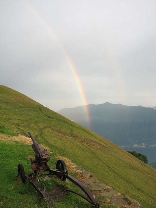 Double Rainbow, Rainbow, Sunbeam, Light, Cloudy, Sky
