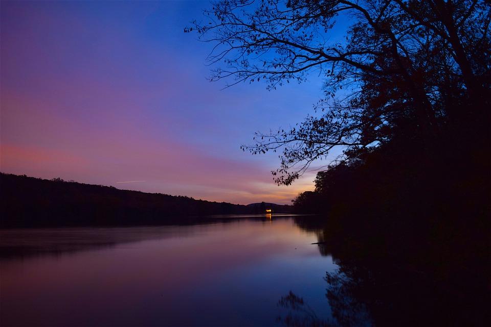 Lake, Sunset, Sky, Blue, Pink, Light, Colorful, Water