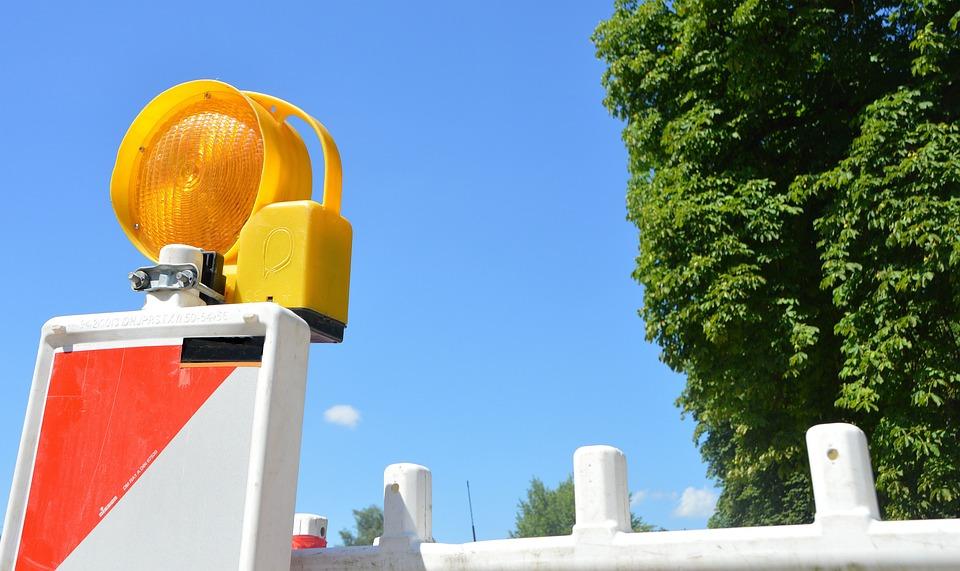 Barrier, Lamp, Backup Lamp, Construction Lamp, Sky