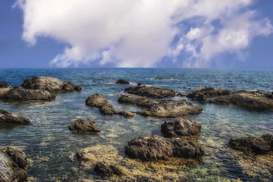 Rocks, Sea, Beach, Sky, Costa, Marina, Clouds