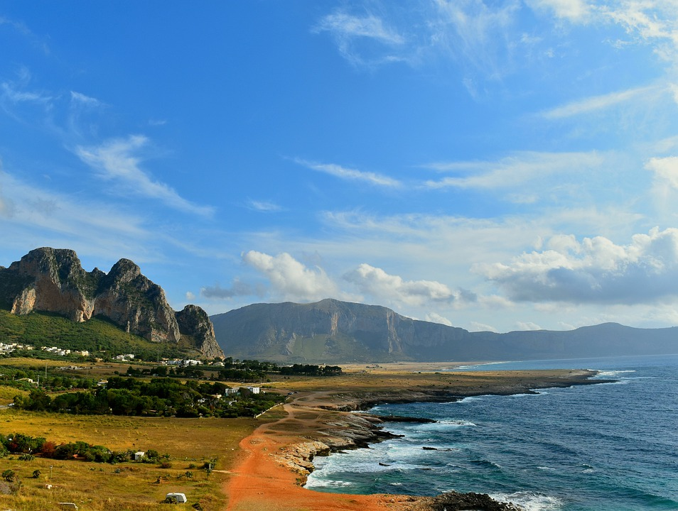 Sea, Shore, Mountain, Sky, Clouds, Costa, Sicily, Earth