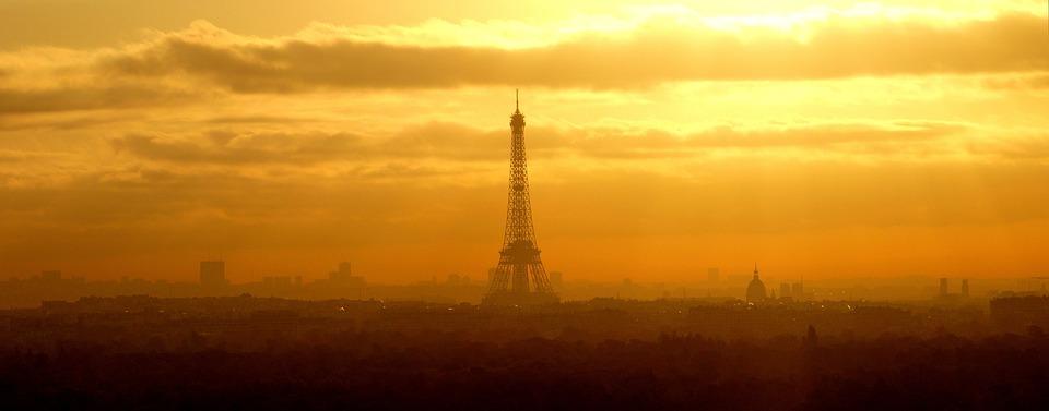 Sunset, Dawn, Sky, Cut, Twilight, Paris, France, Symbol