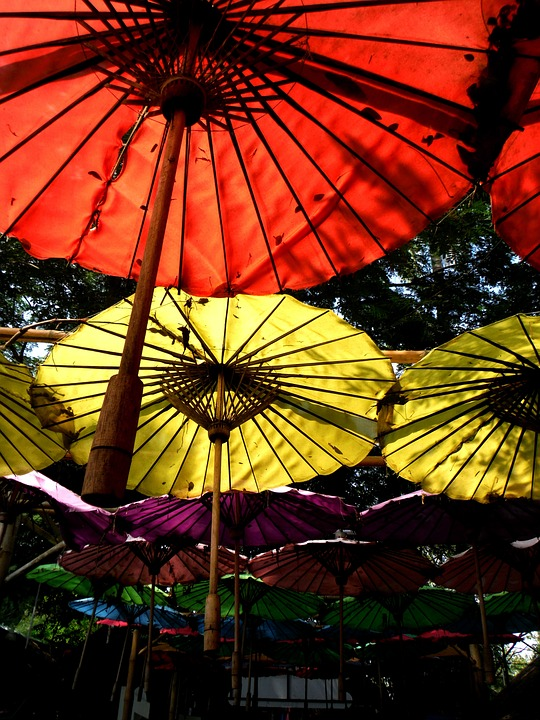 Umbrella, Sky, Decorated