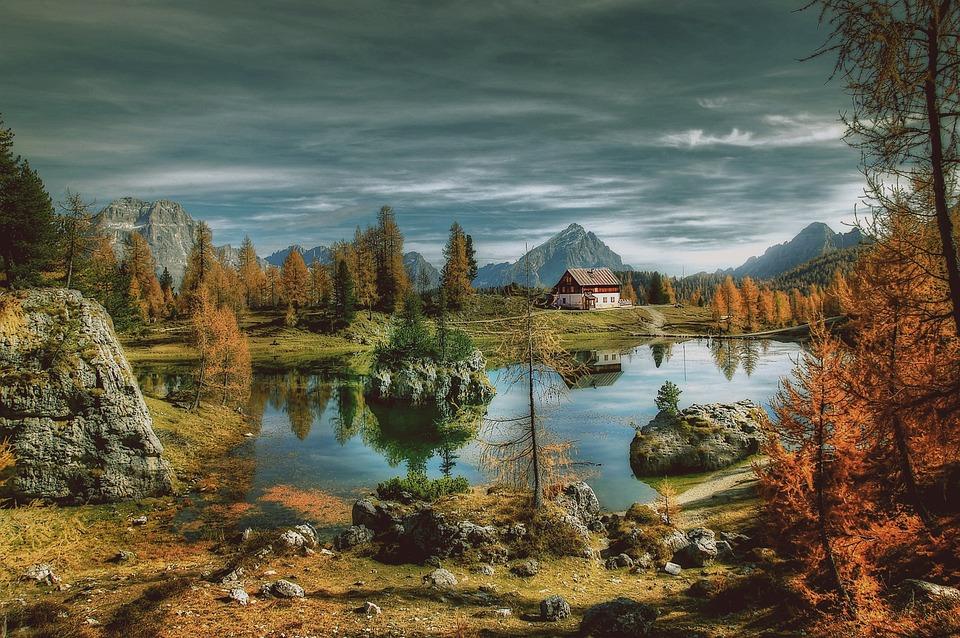 Autumn, Lago Federa, Sky, Dolomites, Landscape, Nature