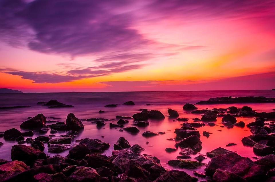 Sunset, Ocean, Dusk, Sky, Clouds, Beautiful, Colors