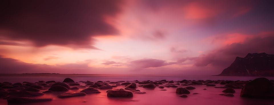 Norway, Sunset, Dusk, Sky, Clouds, Panorama, Beautiful