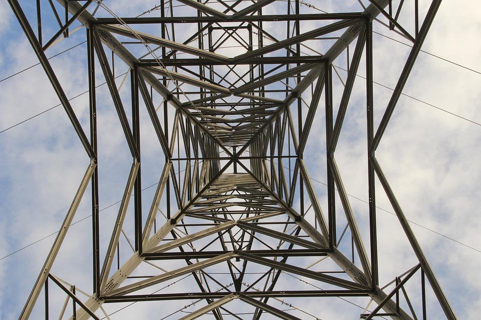 Electricity Pylon, Sky, Clouds