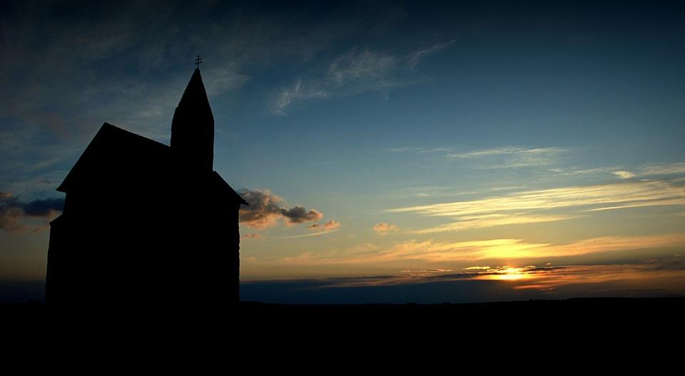 Church, Silhouette, Evening Sky, Sunset, Horizon, Sky