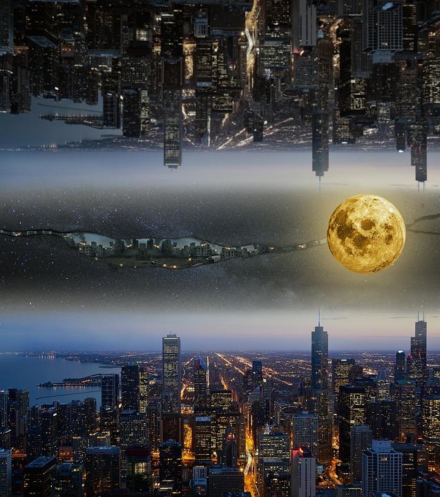 City Lights, Moon, Fantasy, Sky, Destruction, Stars