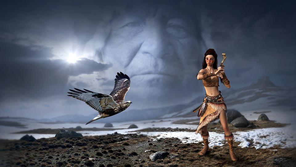 Fantasy, Mystical, Indians, Falcon, Landscape, Sky