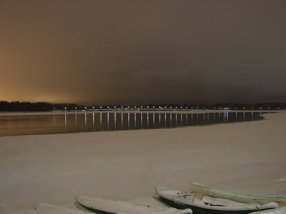 Finland, Sky, Clouds, Bridge, Architecture, Sunset