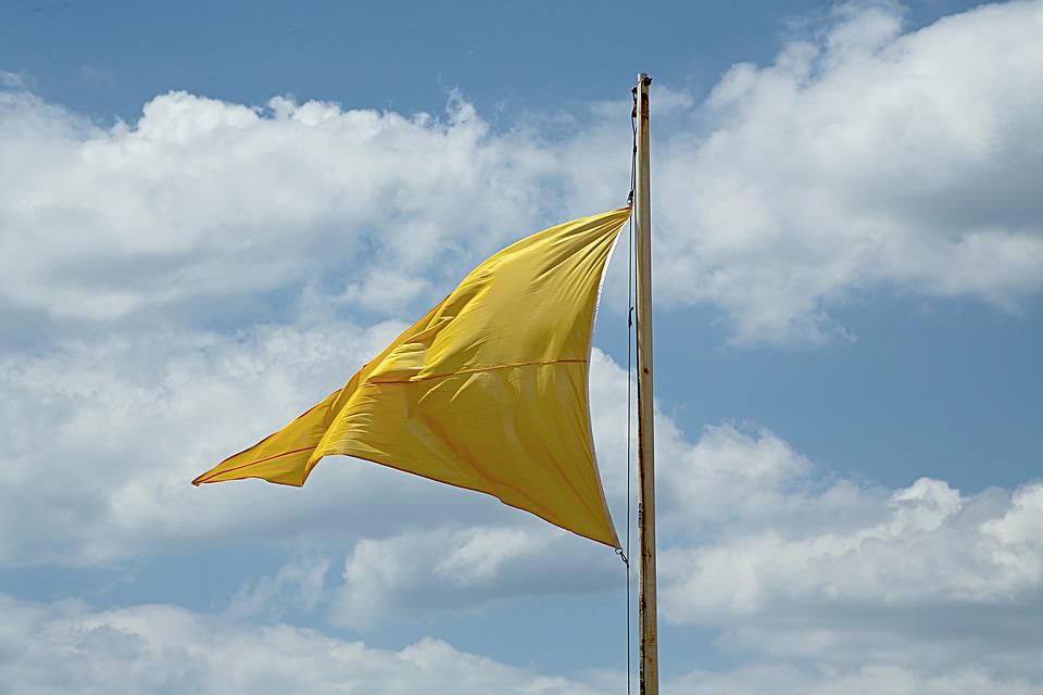 Flag, Wind, Sky, Colors, Yellow