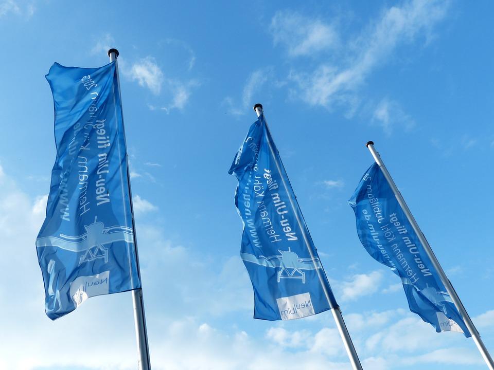 Flags, Blue, Blow, Flutter, Sky, Flagpoles, Hoist