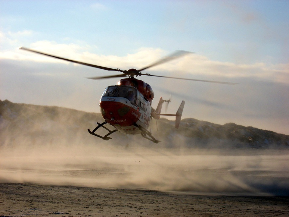 Helicopter, Fly, Sky, Beach, Departure