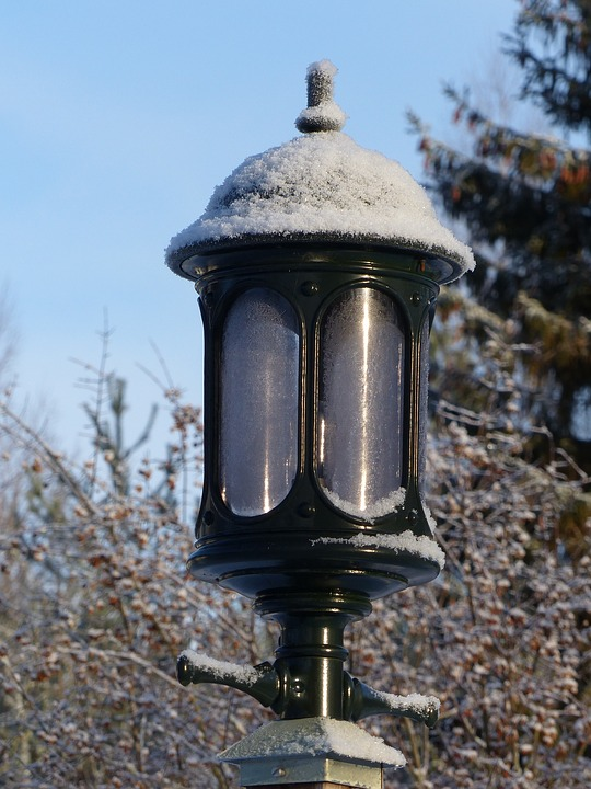 Lamp, Outdoor, Winter, Frost, Sky, Tree, Pole, Colors