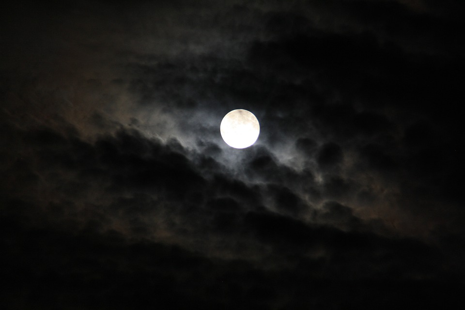 Moon, Luna, Night, Space, Sky, Gespenstig, Black