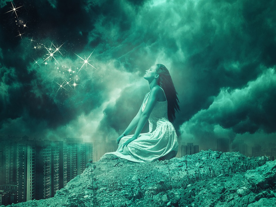 Girl, Pray, Sky, Clouds, Woman