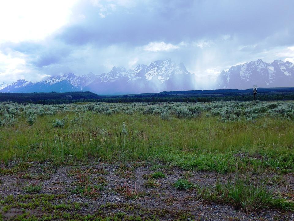 Mountains, Grand Tetons, Wyoming, Sky, Clouds, Panorama