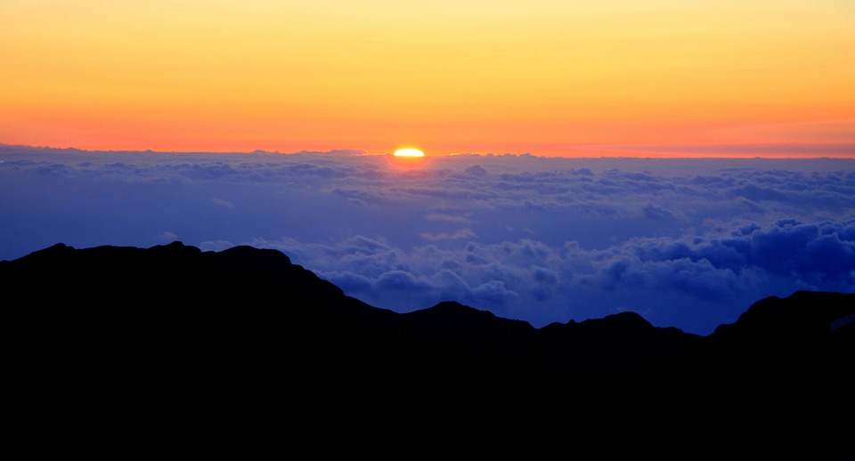 Haleakala, Sunrise, Clouds, Sky, Mountain