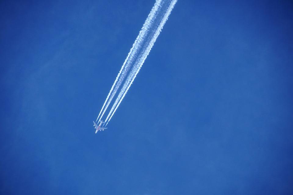 Heaven, Blue, Sky, Condensing, Lines