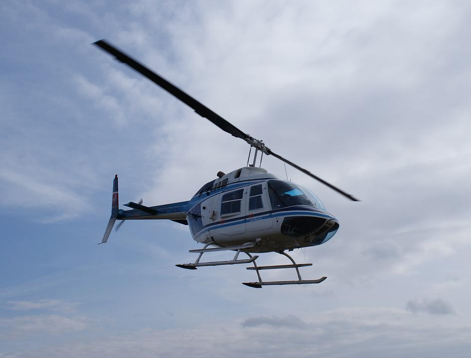 Helicopter, Flying, Blue, Sky