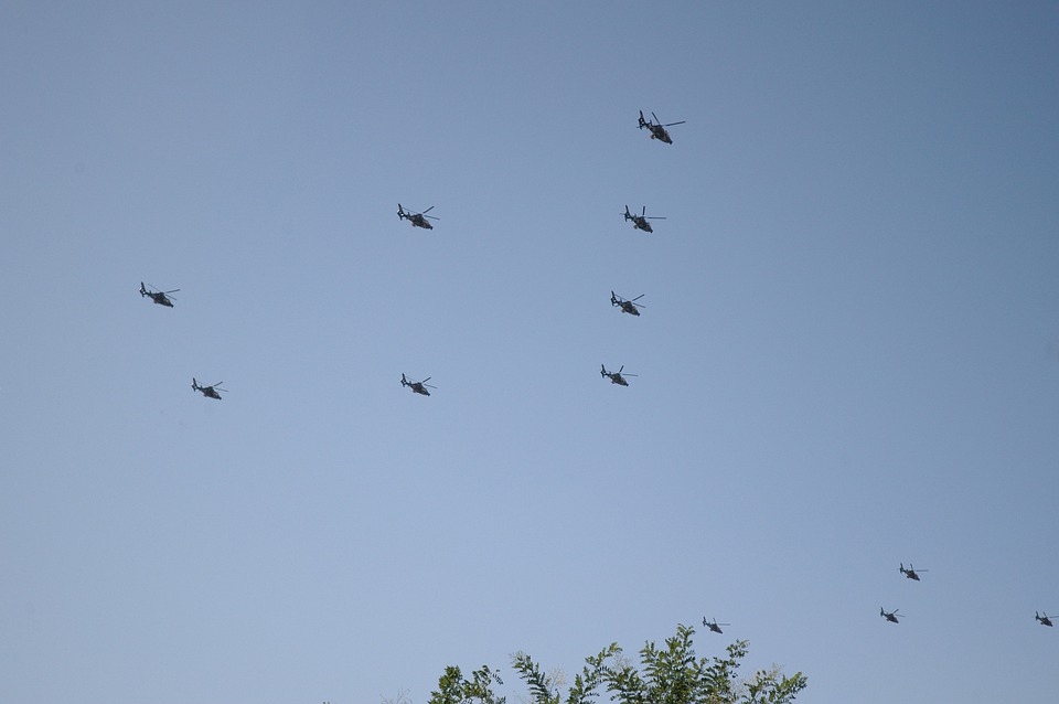 Helicopters, Formation, Squadron, Sky, Aerial, Choppers